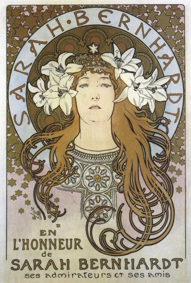 Alphonse Mucha, Poster of Sarah Bernhardt for 'La Plume' Magazine, 1897, private collection Posters of Alphonse Mucha