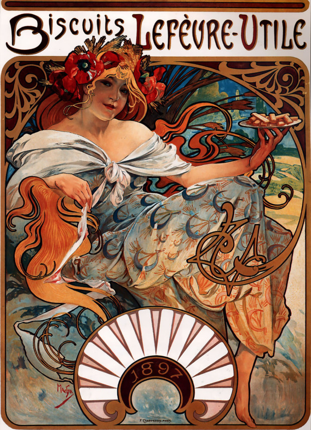 Alphonse Mucha, Biscuits Lefèvre-Utile, 1896, Private collection