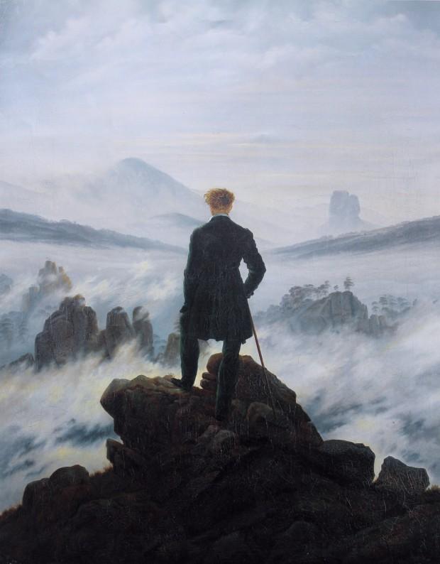 Caspar David Friedrich, Wanderer above the Sea of Fog,1818. Kunsthalle Hamburg.