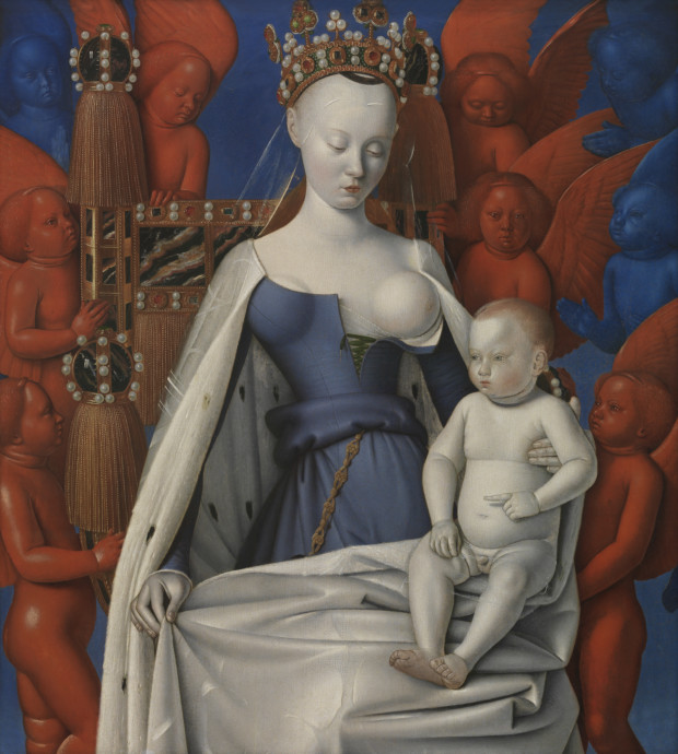 Jean Fouquet, Virgin and Child Surrounded by Angels, Royal Museum of Fine Arts, Antwerp, breastfeeding art