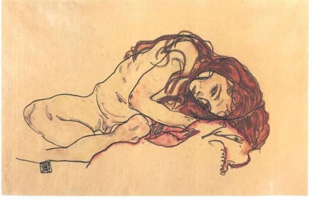 Schiele_-_Kauerndes_Mädchen_mit_gesenktem_Kopf_-_1918