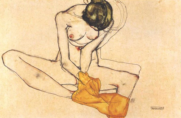 Sitting female nude with yellow blankett, 1910