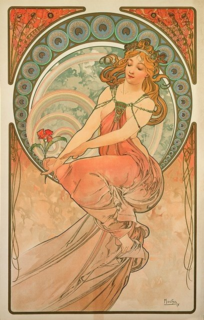 Alphonse Mucha, Painting, part of the series The Arts, 1898