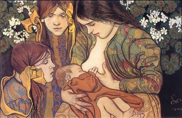 Stanisław Wyspiański, Motherhood, 1905, National Museum, Warsaw, breastfeeding art