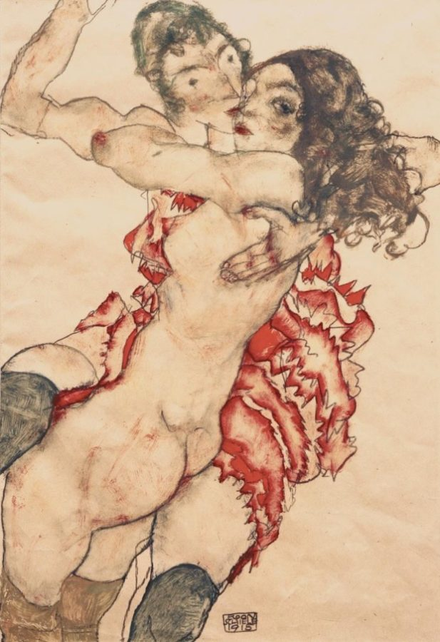 Egon Schiele, Two Girls Embracing (Two Friends), 1915, Museum of Fine Arts, Budapest