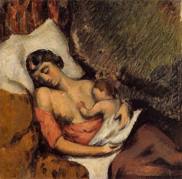 Paul Cezanne, Hortense Breast Feeding Paul, breastfeeding art