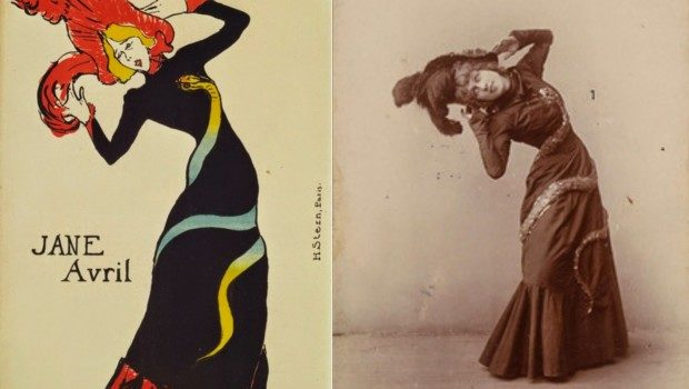 Jane Avril by Henri Toulouse-Lautrec on the lef and on the photo by Maurice Biais