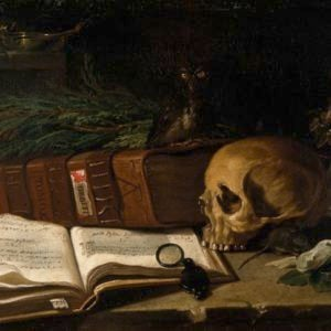 V0017193 Still life with a skull and medical book. Oil painting by an Credit: Wellcome Library, London. Wellcome Images images@wellcome.ac.uk http://wellcomeimages.org Still life with a skull and medical book. Oil painting by an Italian painter, 1766. Published:  -   Copyrighted work available under Creative Commons Attribution only licence CC BY 4.0 http://creativecommons.org/licenses/by/4.0/
