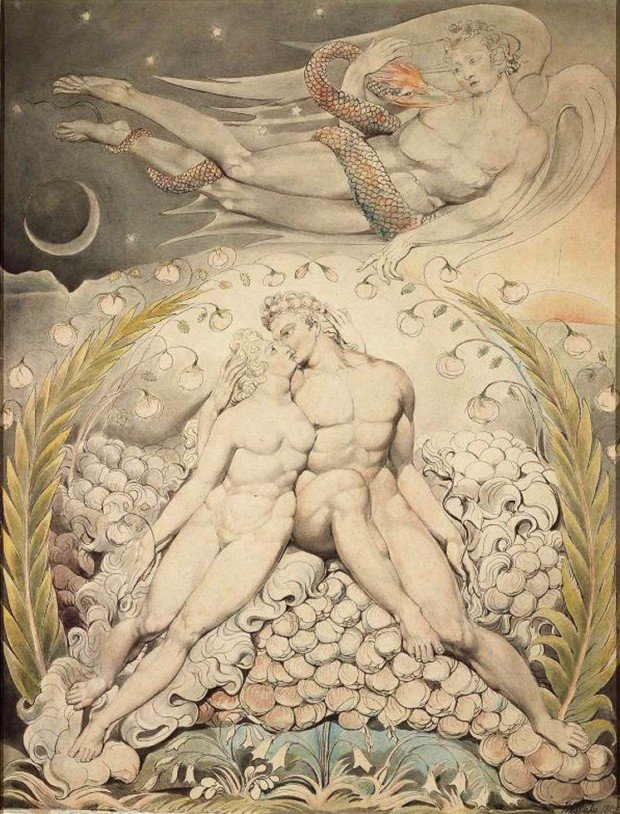 William Blake, Sata Watching The Caresses of Adam and Eve, 1808, Museum of Fine Arts, Boston