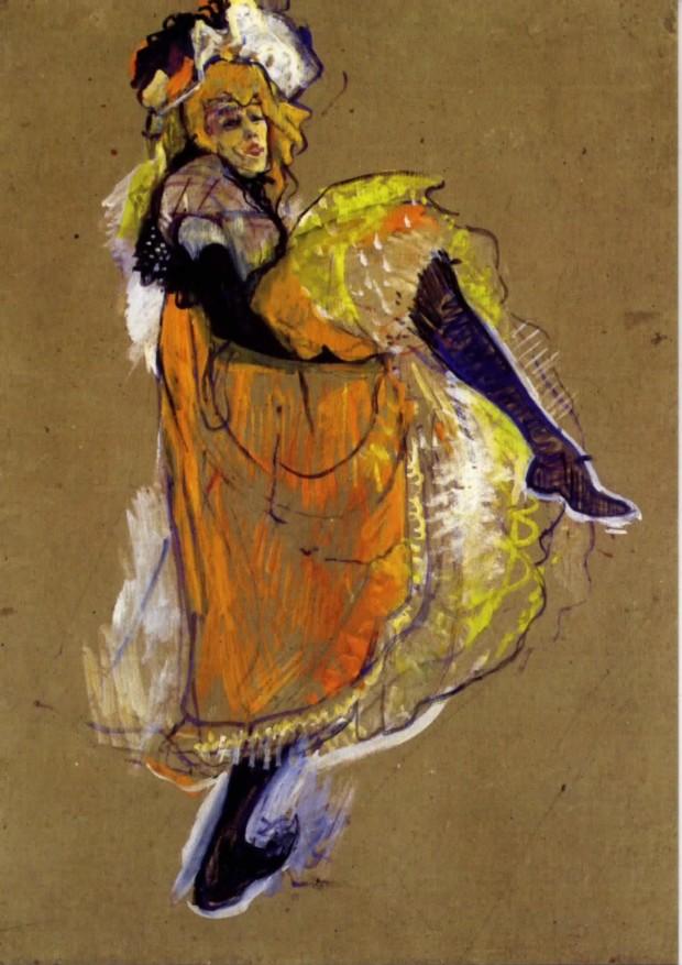 """Jane Avril dancing, study for the poster """"Jardin de Paris"""" - Henri de Toulouse-Lautrec"""