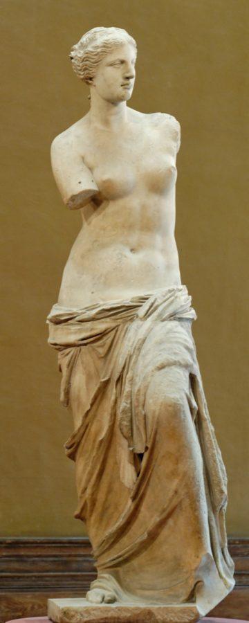 """Aphrodite, known as the """"Venus de Milo"""", C. 100 BC, Musée du Louvre ancient greek sculptures"""