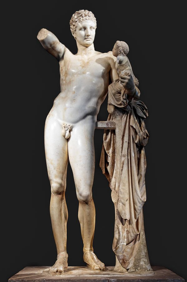 Hermes and the Infant Dionysos, 4th Century BC, Archaeological Museum of Olympia ancient greek sculpture