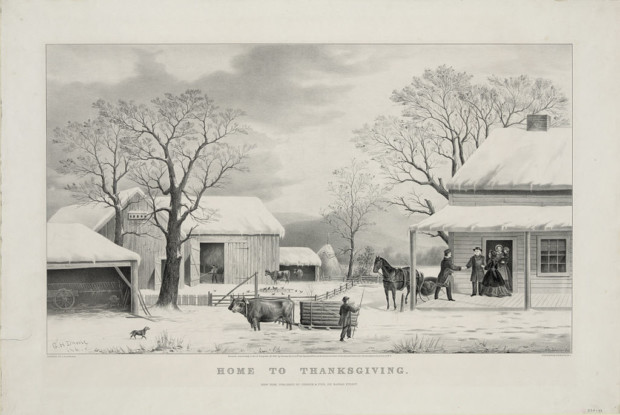 Home to Thanksgiving, lithograph by Currier and Ives, 1867