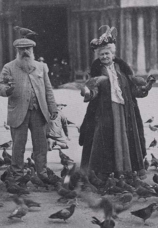 Claude and Alice Monet in Piazza San Marco, feeding the pigeons.