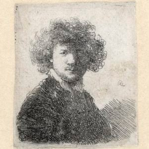 Rembrandt, Self-Portrait with curly hair, c. 1629. Etching (state II), 56 x 49 mm., Amsterdam, The Rembrandt House Museum.