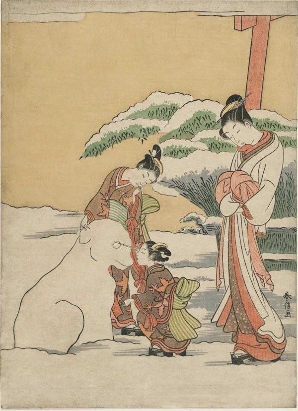 Harunobu Suzuki, Courtesan Watching Two Kamuro Make a Snow Dog, 1767-68