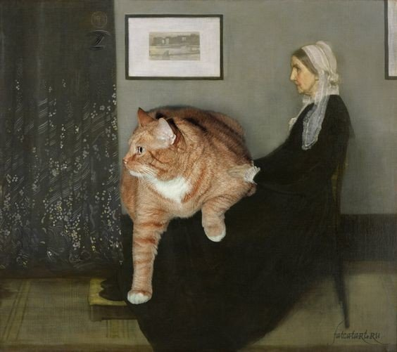 "James Whistler. Whistler's Mother with the cat from ""Famous Paintings improved by cats"""