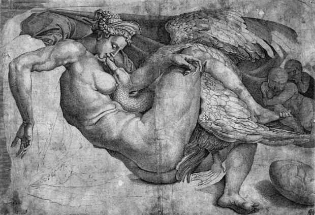 Cornelis Bos after Michelangelo, Leda and the Swan, first half of 16th century, British Museum