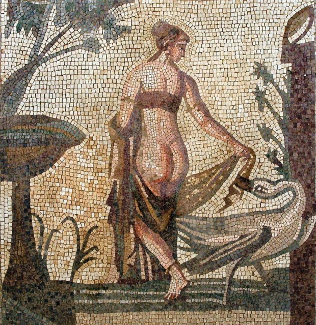 Tile mosaic depicting Leda and the Swan from the Sanctuary of Aphrodite, Palea Paphos, now in the Cyprus Museum, Nicosia, 3rd century AD