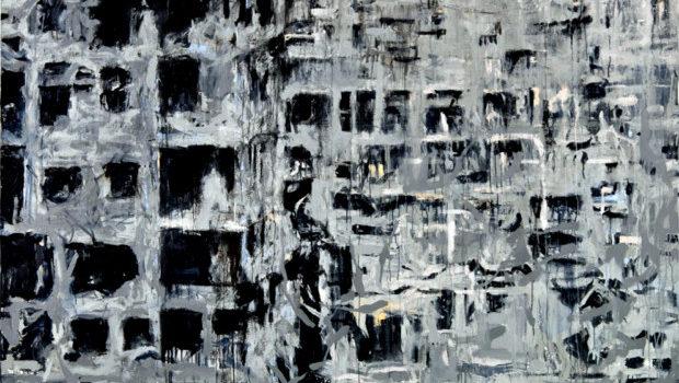"""rom """"Storeys"""" by Tammam Azzam, 152 X 203 cm, mixed media on canvas, 2014. Image courtesy of Tammam Azzam"""