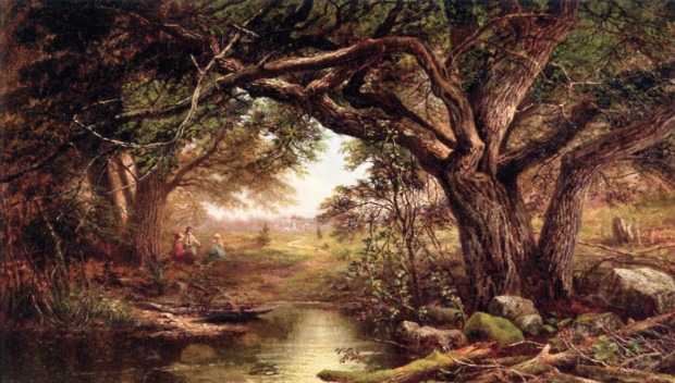 Landscape with Three Ladies Sitting Under a Tree by Mary Josephine Walters