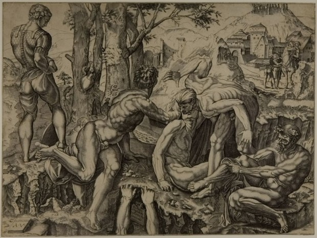 Agostino Veneziano After Michelangelo Buonarroti, Soldiers Bathing in the Arno, 1610, Harvard Art Museum
