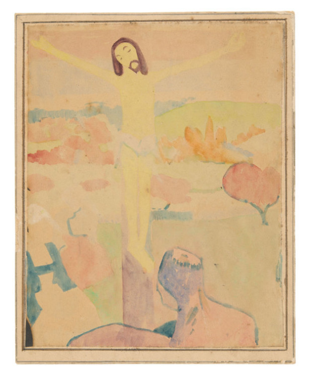 Paul Gauguin, The Yellow Christ (recto); Photograph of Painting: Female Bather Wading Through a Brook (verso), c. 1889, Art Institute of Chicago