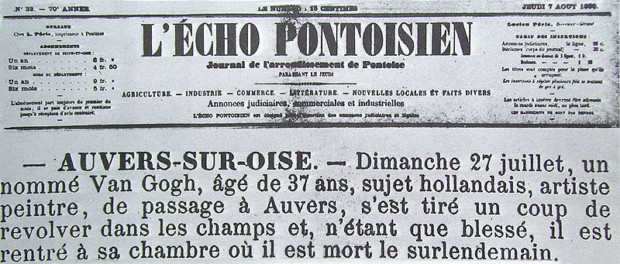 vincent van gogh death Newspaper clipping from L'Écho Pontoisien on the death of the artist Vincent van Gogh, 7 August 1890; Van Gogh's Death