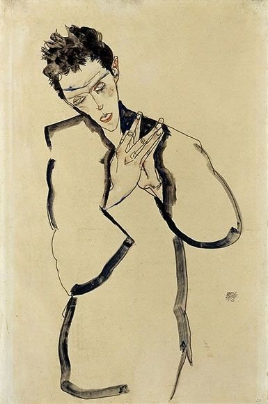 Egon Schiele, Self-Portrait with Folded Hands, ©Sotheby's Picture Library