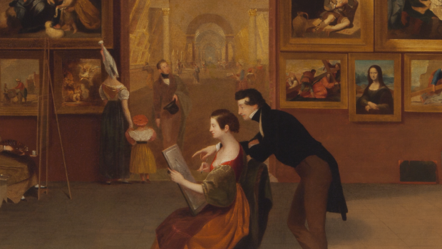 Samuel F.B. Morse, Gallery of the Louvre (detail) 1831-33, Terra Foundation for American Art, now on show in The New Britain Museum of American Art