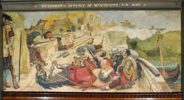 Ford Maddox Brown, Bradshaw's Defence Of Manchester, 1893, Manchester Town Hall, manchester