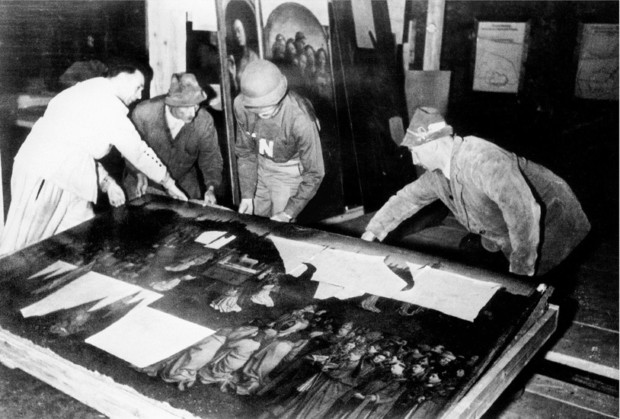 The Ghent Altarpiece during recovery from the Altaussee salt mine at the end of World War II Hitlers Art Museum