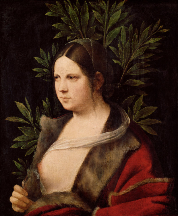 """Giorgione, Young Woman (""""Laura""""), 1506, Kunsthistorisches Museum, Vienna Red Dresses Art"""