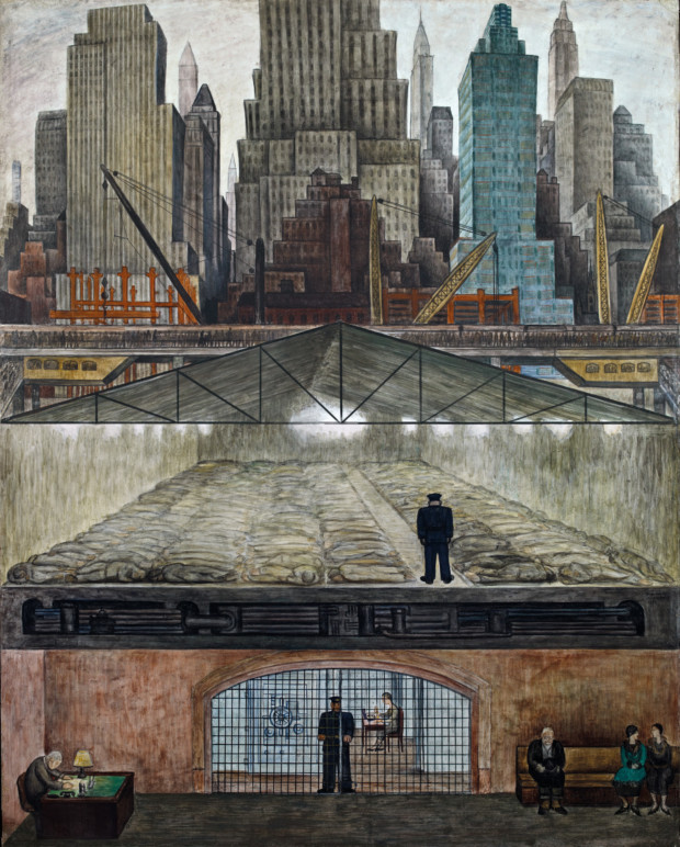 paintings New York Diego Rivera. Frozen Assets. 1931, Museo Dolores Olmedo Patiño, Mexico