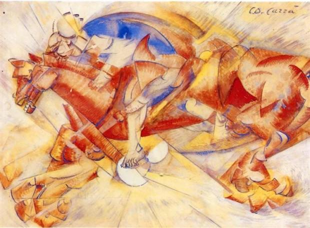 Carlo Carra,The Red Horseman, 1913, lichtenstein's art