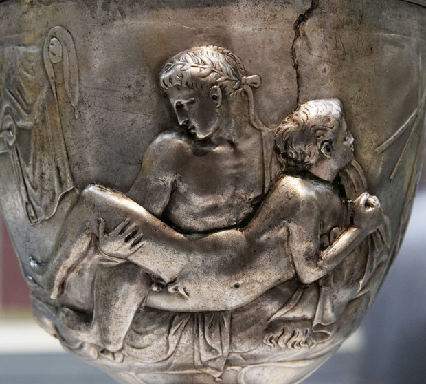 8Warren Cup (side B), 5–15 CE, British Museum, male homosexuality art