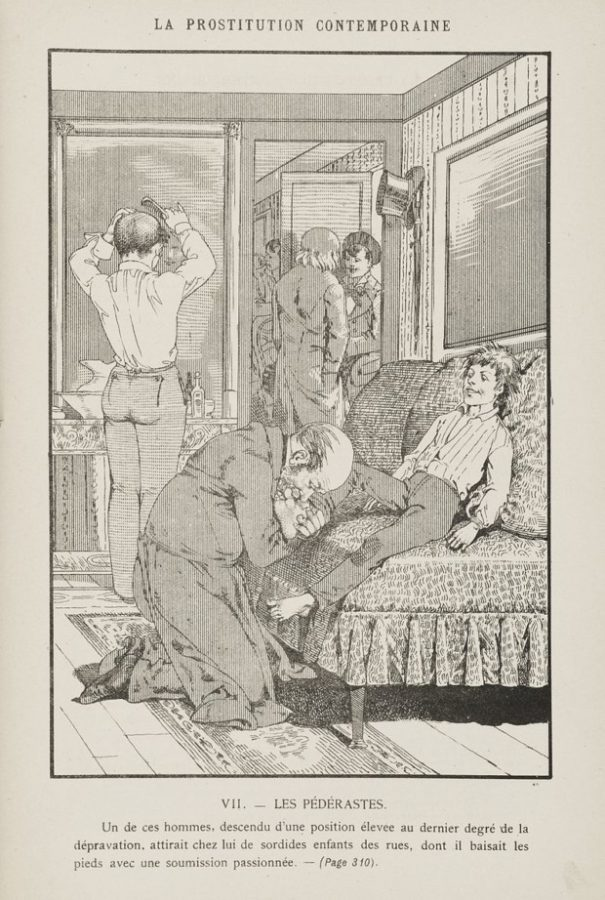 """Léon Choubrac, an illustration from: """"La prostitution contemporaine : étude d'une question sociale"""" by Léo Taxil, 1884, Librairie Populaire, Paris, male homosexuality art"""