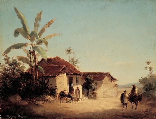 Camille Pissarro St Thomas Camille Pissarro, Landscape with Farmhouses and Palm Trees, 1856, Galería de Arte Nacional, Caracas