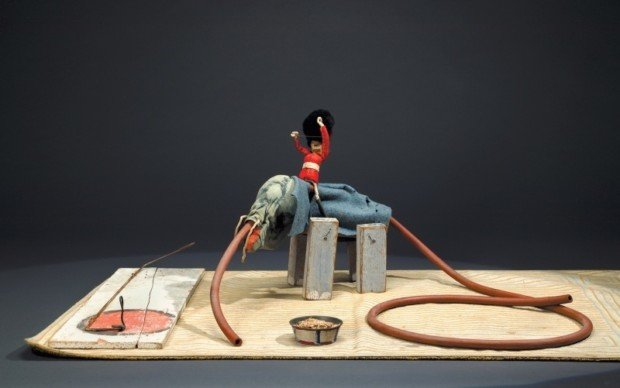 Alexander Calder Circus Alexander Calder, Elephant and Trainer, from, Calder's Circus, 1926–31. Painted wood, cloth, rubber tubing, wire, fur, pipe cleaners, cork, and nails, 12 1/4 × 29 × 15 1/2 in. (31.1 × 73.7 × 39.4 cm). Whitney Museum of American Art, New York, © 2009 Calder Foundation, New York/Artists Rights Society (ARS), New York; photograph © Whitney Museum of American Art