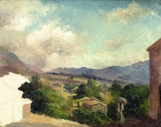 Camille Pissarro St Thomas Camille Pissarro. Mountain Landscape at Saint Thomas, Antilles (unfinished). 1854, private collection