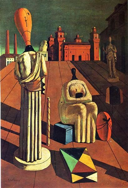 The Disquieting Muses, Giorgio de Chirico, 1916-1918, Private Collection, Chirico's surrealistic eyes