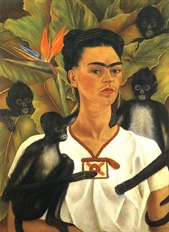 Frida Kahlo symbolism Self Portrait with Monkeys, Frida Kahlo, 1943