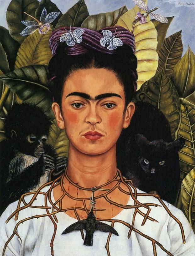 Frida Kahlo symbolism Self Portrait with Thorn Necklace and Hummingbird, Frida Kahlo, 1940, Harry Ransom Center, University of Texas at Austin, Austin