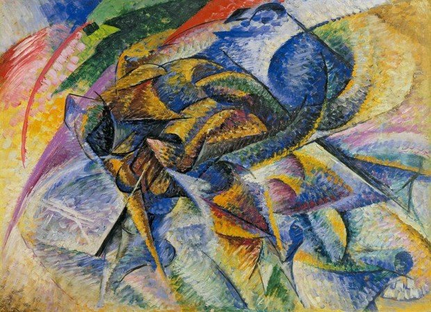 Manifesto of Futurism Umberto Boccioni, 1913, Dynamism of a Cyclist (Dinamismo di un ciclista), oil on canvas, 70 x 95 cm, Gianni Mattioli Collection, on long-term loan to the Peggy Guggenheim Collection, Venice