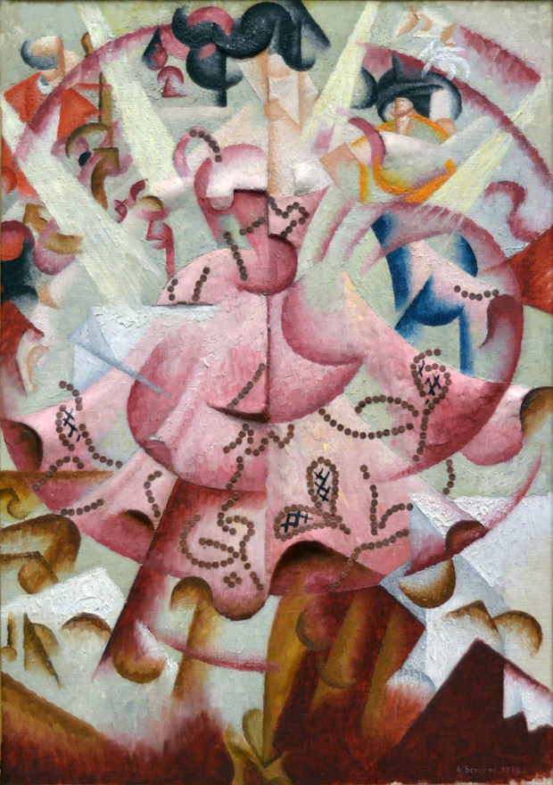 Manifesto of Futurism Gino Severini, 1912, Dancer at Pigalle, oil and sequins on sculpted gesso on artist's canvasboard, 69.2 x 49.8 cm, Baltimore Museum of Art