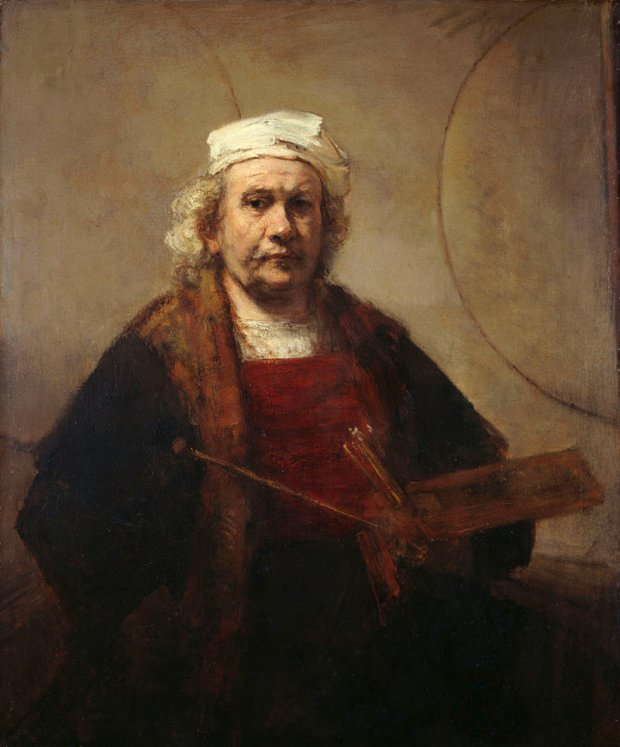 Self-Portrait With Two Circles, Rembrandt, 1665-1668, Kenwood House, London, 5 greatest baroque painters