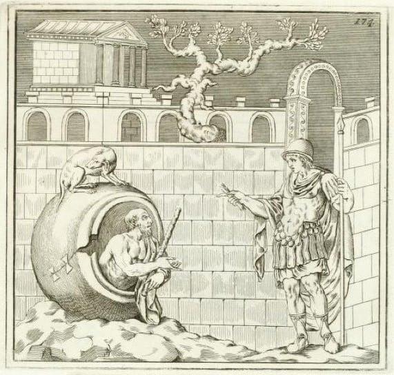 Alexander Conversing with Diogenes. Engraved by Giovanni Battista Casanova for Johann Joachim Winckelmann Casanova brothers
