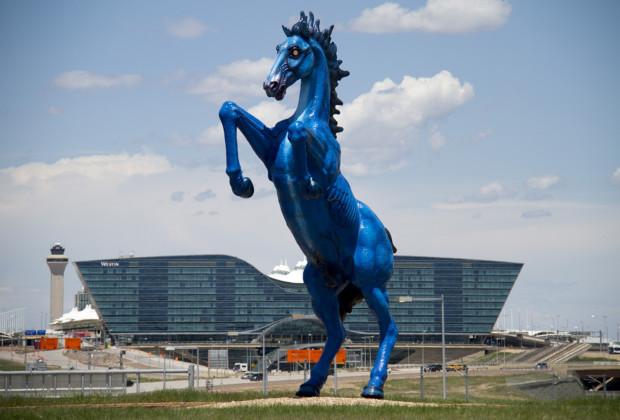 Luis Jimenez, Blue Mustang, 2008, Denver International Airport