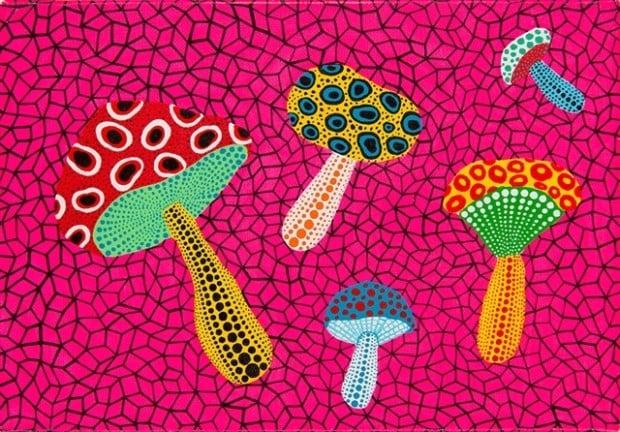 Yayoi Kusama, Mushrooms, 1995, private collection, mushroom art