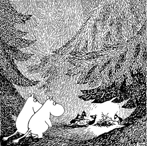 Moomins in the Forest. Art print by Tove Jansson